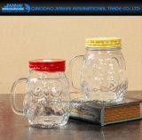 Tarro de masón de cristal de la dimensión de una variable oval, taza de consumición con la maneta