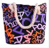 Tendência à mão do saco do saco de alta qualidade novo da lona a grande de sacos fêmeas da praia do saco
