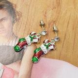 クリスマスの方法宝石類のラインストーンのエナメルのソックスの低下イヤリング