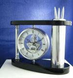 Horloge de bureau en bois abstraite abstraite personnalisée