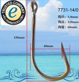Les pêcheurs en acier inoxydable de qualité supérieure Extra Strong Anti-rouille crochet de la pêche 7731-14/0