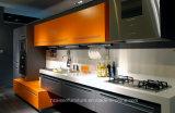 Het moderne Italiaanse Modieuze Oranje & Bruine Meubilair van de Keukenkast van de Lak Houten