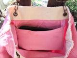 Tote-Beutel Boho rosafarbenes Segeltuch für den Strand-Fonds-Hochzeits-Mittagessen-Schule-Windel-Beutel