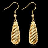Boucles d'oreille simples de cavité de forme de baisse de goutte pour les oreilles d'or de Rose d'or