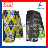 Shorts do Lacrosse dos homens do Sublimation do fósforo de liga da engrenagem do fato do logotipo da forma de Healogn
