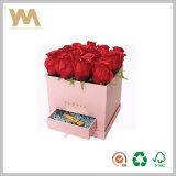 Rectángulo de empaquetado modificado para requisitos particulares del regalo de la flor del diseño con la maneta