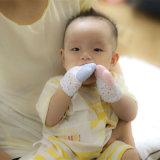 Mordedor para bebê de silicone luva chupeta polegar dentição som natural