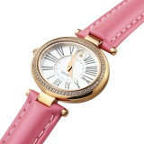 Montre elliptique de dames Wirst de courroie en cuir de mode rose de Zirnconite