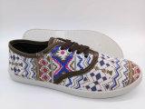 2017の女性の注入のスリップオンのズック靴の平らな余暇の靴(FPY822-2)