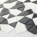 Azulejo de mosaico de cristal coloreado blanco y negro