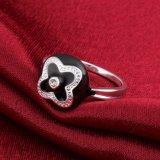 Zilver Geplateerd Zirkoon Vier de Kunstmatige Juwelen van de Ring van de Klaver van het Blad