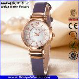Orologio delle signore del quarzo della cinghia di cuoio di OEM/ODM (Wy-093E)