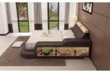 Bâti en cuir réel de meubles en gros de chambre à coucher avec la literie