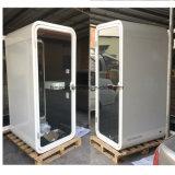 Type acoustique en aluminium cosses de contact de téléphone et cabines/cabines téléphone en verre de bureau