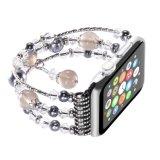 Faixas de pedra naturais da cinta de Iwatch das meninas das mulheres da recolocação do bracelete da pérola elástica Handmade da forma para o relógio de Apple
