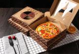 Barato de alta calidad caja de pizza de color marrón con ventana