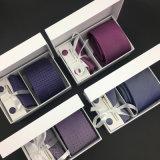Lenço tecido Handmade dos botão de punho do laço de seda de 100% com jogo da caixa