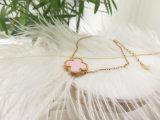 Armband van de Klaver van de Parel van de Ketting van de Juwelen van de charme de Regelbare Gouden Roze