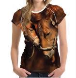 T-shirt personnalisé d'impression de broderie de coton pour des femmes