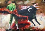 Pittura a olio spagnola Handmade del Bullfighter su tela di canapa