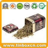 Caixa quadrada feita sob encomenda do estanho do chá do metal para o transportador de chá do armazenamento