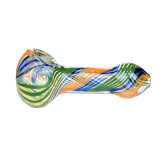 Tubo de cristal de la cuchara del tubo que fuma de la mano de la raya colorida de cristal de cristal del tubo