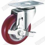 Mittlere Aufgabe PU-Gewinde-Stamm-Seiten-Bremsen-Fußrolle (G3201)