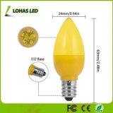 0.5W LED C7 gelbe Glühlampen mit gelber LED bricht Birne der Kerze-E12 für Festival ab