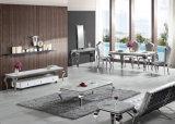 Muebles de comedor clásico de vidrio y madera y encimera de mármol de acero inoxidable mesa de comedor