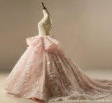 Rosafarbene Spitze-blüht Blumenbrautballkleid-Luxuxarabisch geschwollenes Hochzeits-Kleid 2018 Lb18112