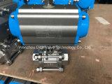 3 pedazos Butt-Weld neumáticos dobles de la vávula de bola con la presión 150lb
