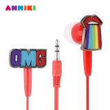Anmiki ató con alambre la estereofonia Earbuds del auricular 3.5m m del en-Oído de los arco iris de la historieta del metal para el regalo de las muchachas