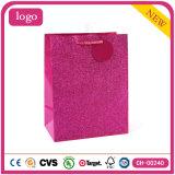 Sacs en papier enduits de cadeau d'art rose de mode de scintillement