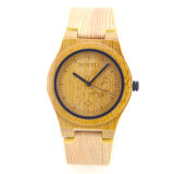 Niza reloj de madera popular ocasional de la correa de cuero para el regalo de los hombres