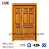 Porte extérieure découpée par main de double entrée en bois de lame