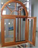 Madera de alerce sólido Castment ventana con doble vidrio templado