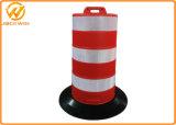 Segurança na estrada da auto-estrada A base de borracha preta do tambor de tráfego de plástico