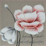 Peinture peinte à la main pure d'art de pétrole de fleur rouge et blanche