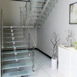Escalera de cristal moderna con la pisada antirresbaladiza del vidrio de la escalera