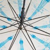 Эйфелева башня напечатано Poe и прозрачный прямой довольно зонтик