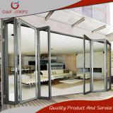 Perfil de aluminio doble acristalamiento interior exterior puerta corrediza de panel plegable
