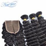 Бразильский глубокую Curl кружева закрытие человеческого волоса Реми волос