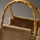 Fait à la main la poignée de bambou de stockage de linge de maison sac de jute