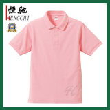 짧은 소매를 가진 여자의 색깔 분홍색 폴로 셔츠