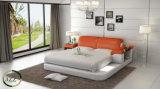 Bâti moderne de cuir de meubles de chambre à coucher avec la DEL