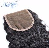 Бразильское глубокое закрытие 4*4 шнурка волны освобождает волос Remy человеческих волос части