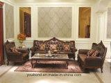 Cuoio di legno solido della lacca del Matt di colore scuro 0052 o sofà classico del tessuto intagliato mano