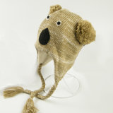 Печатание Koala зимы детей малышей вязание крючком Earflap Beanie милого теплое связанное напольное покрывает головной шлем авиатора лыжи грелки уха (HW614)