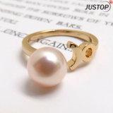 발렌타인 데이 선물을%s 분홍색 진주 반지를 완료하는 착색된 형식 보석 금