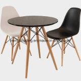 ブラウンの木製の合せ釘の足の基礎性質の足を搭載する肘のない小椅子を食事する黄色い様式によって形成されるプラスチックシェルの寝室